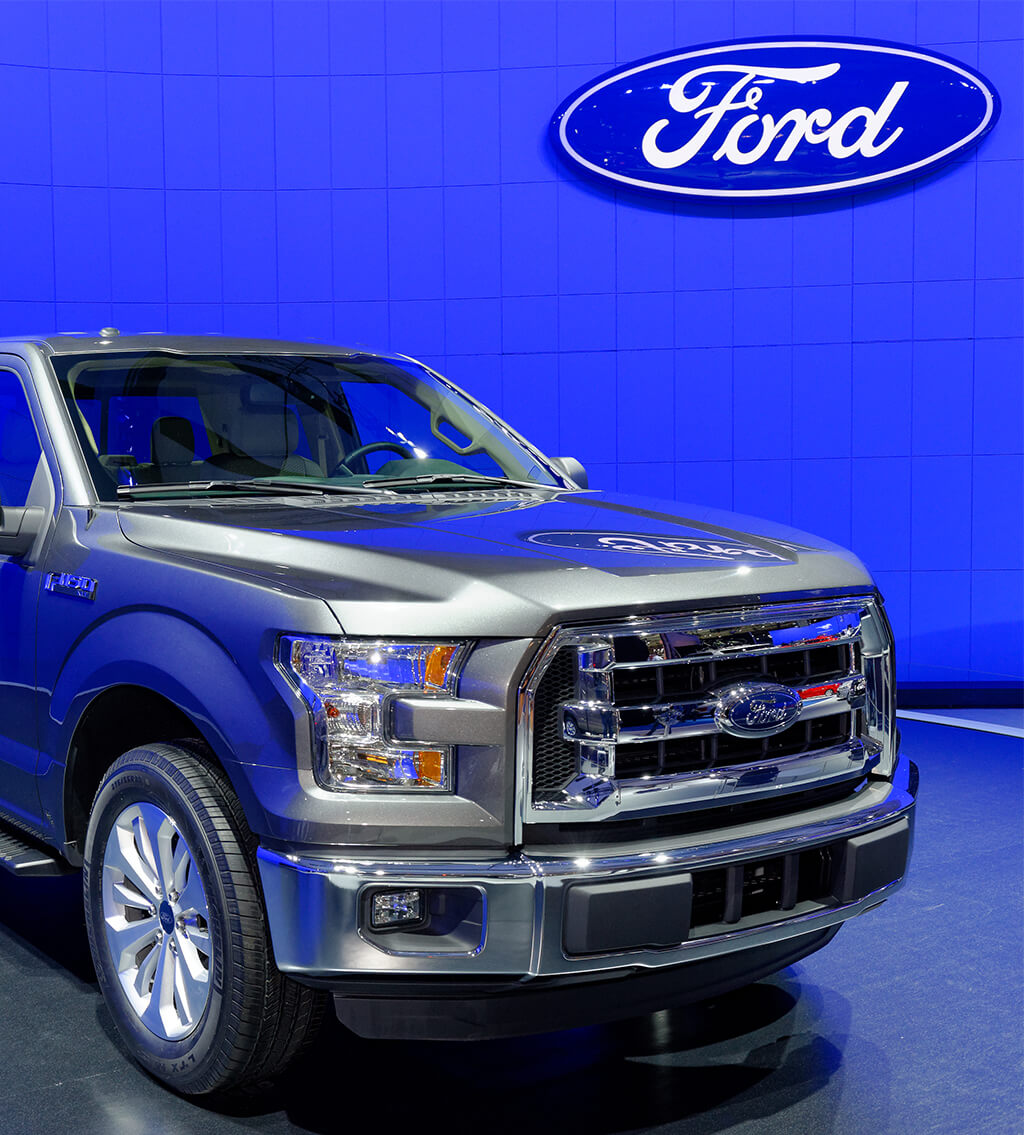 Front of gray Ford F-150 high-performance truck